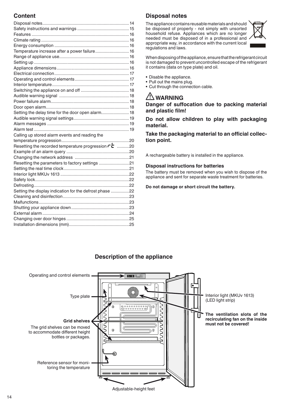 Warning Content Description Of The Appliance Liebherr Mkuv 1610 Short Circuit Appliances User Manual Page 2 13