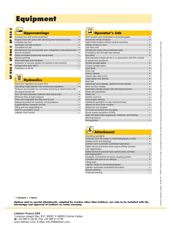 equipment operator s cab uppercarriage liebherr ep 944 c rh manualsdir com liebherr refrigerator instruction manual Owner's Manual