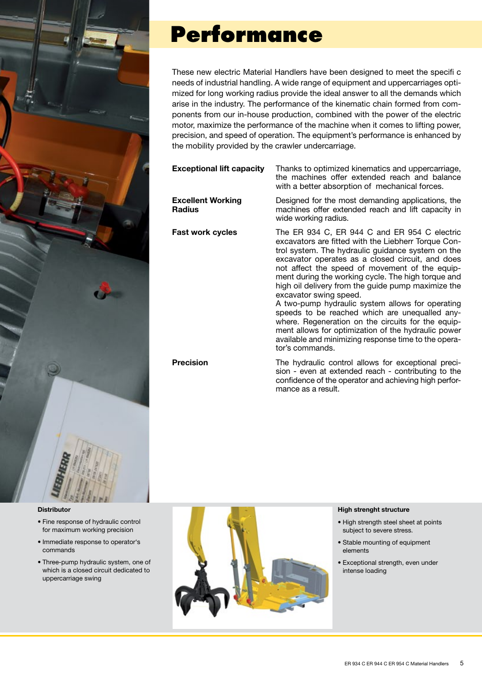 Performance | Liebherr ER 954 C Material Handler User Manual