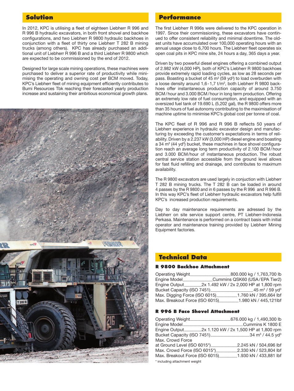 Performance, Solution, Technical data | Liebherr R 9800 User Manual | Page  3 / 4