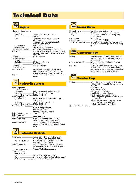 ... Array - technical data engine swing drive liebherr r 9350 user manual  rh manualsdir com