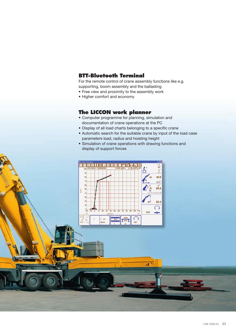Btt-bluetooth terminal, The liccon work planner | Liebherr LTM 11200-9.1  User Manual | Page 23 / 24