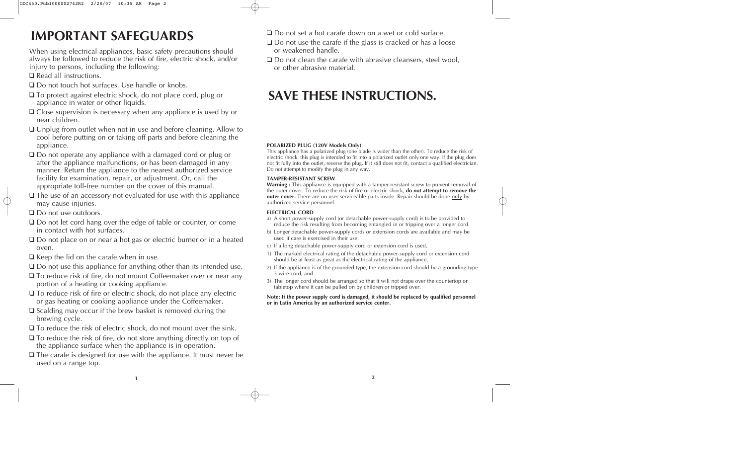 Important Safeguards  Save These Instructions