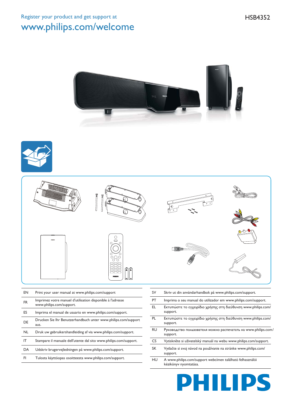 Philips Soundbar Home Entertainment System User Manual 6 Pages Also For Barre De Son