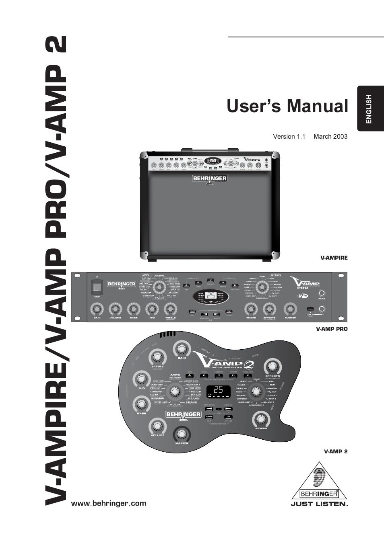 behringer v amp pro user manual 19 pages also for v amp 2 v ampire rh manualsdir com behringer bass v-amp manual pdf behringer bass v-amp manual pdf
