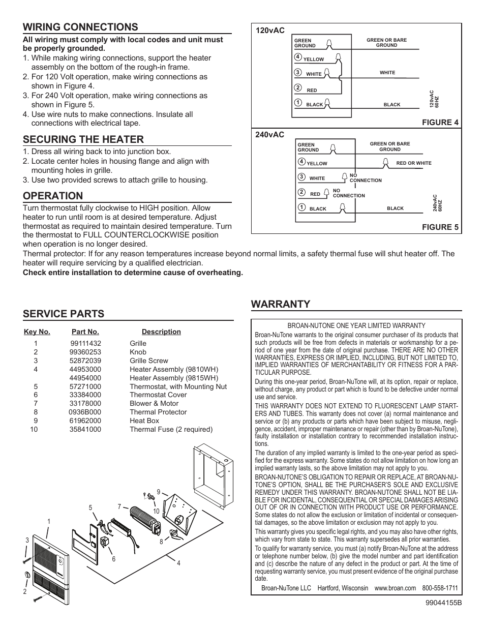 Wiring connections, Securing the heater, Operation | Broan Wall Heaters  9815WH SERIES User Manual | Page 2 / 4