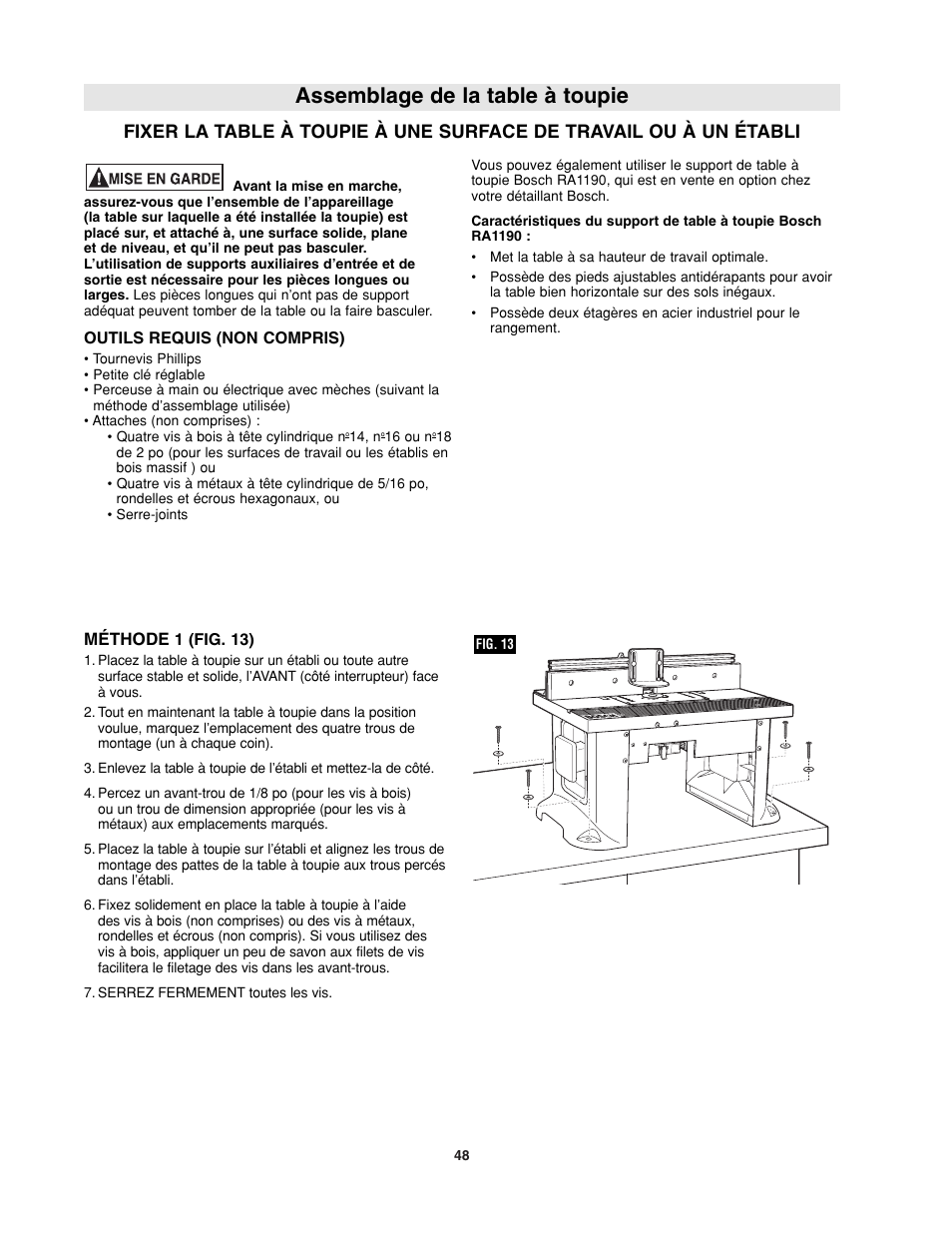 Assemblage de la table à toupie | Bosch RA1181 User Manual | Page 48 ...