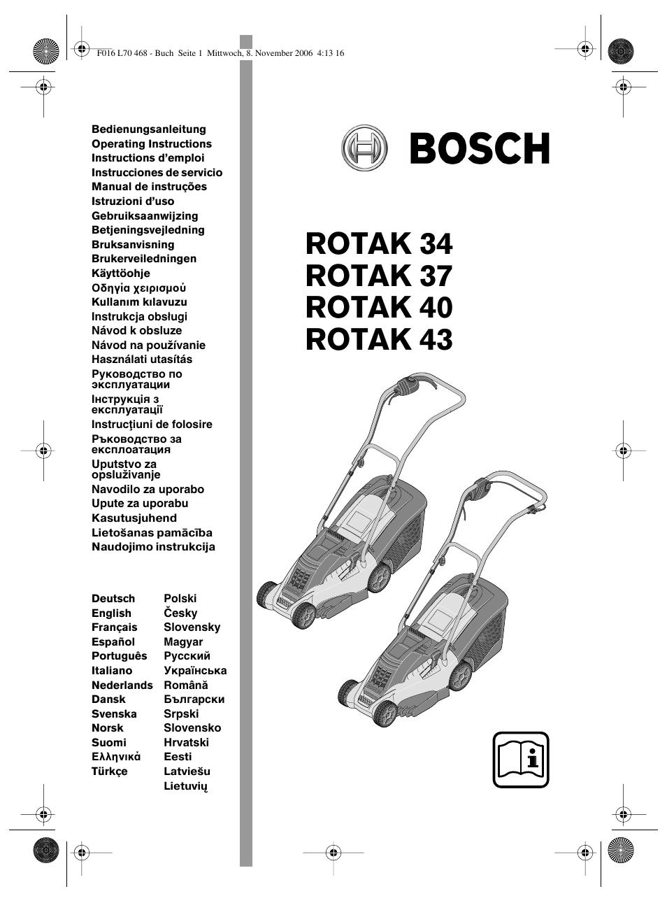 Bosch ROTAK 37 User Manual | 171 pages | Also for: ROTAK 34, ROTAK 40, ROTAK  43