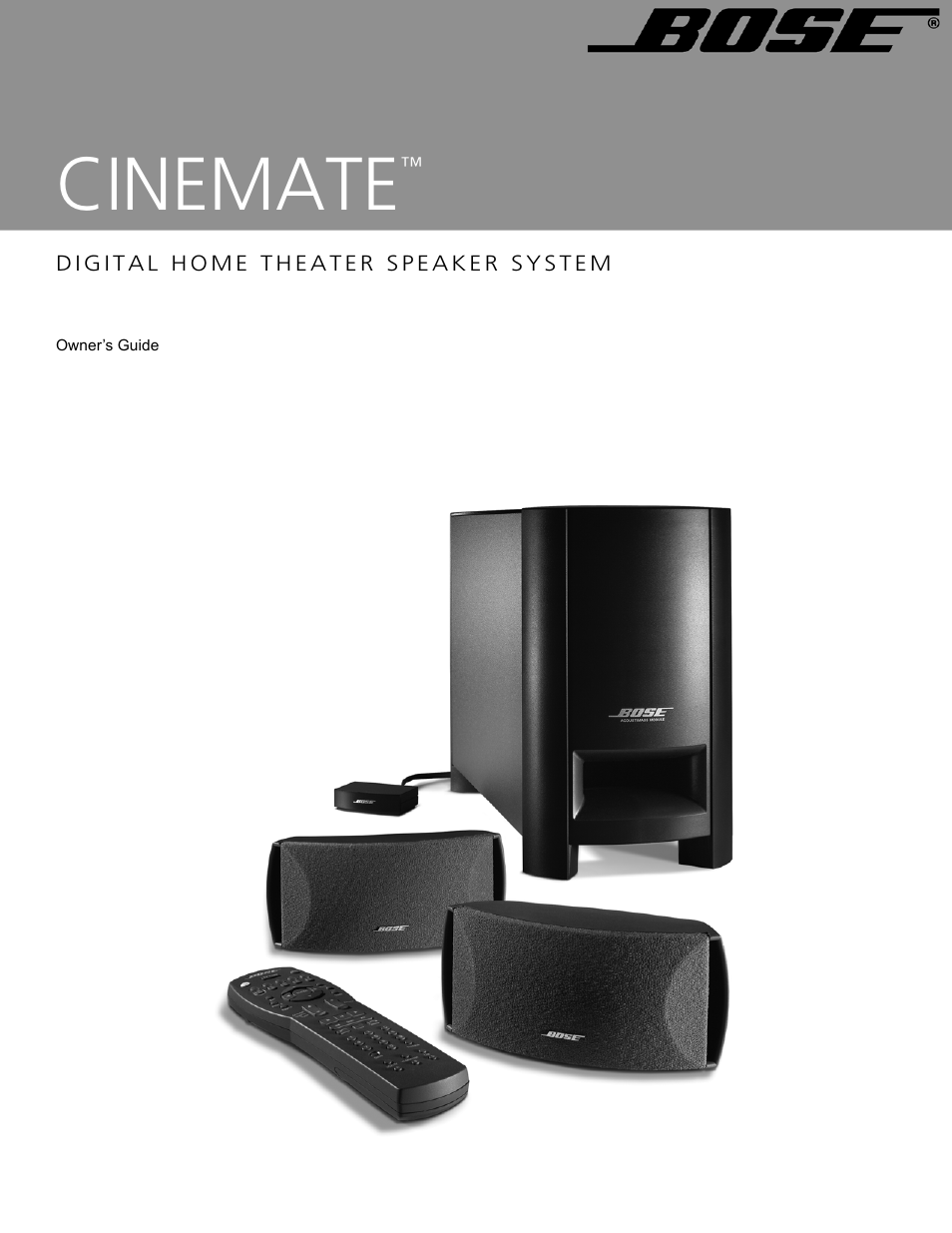 Bose cinemate digital home theater speaker system user manual 24 pages publicscrutiny Choice Image