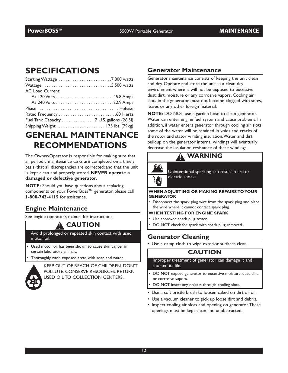 Specifications General Maintenance Recommendations Engine Briggs 26 Stratton Diagram 030255 User Manual Page 12 28