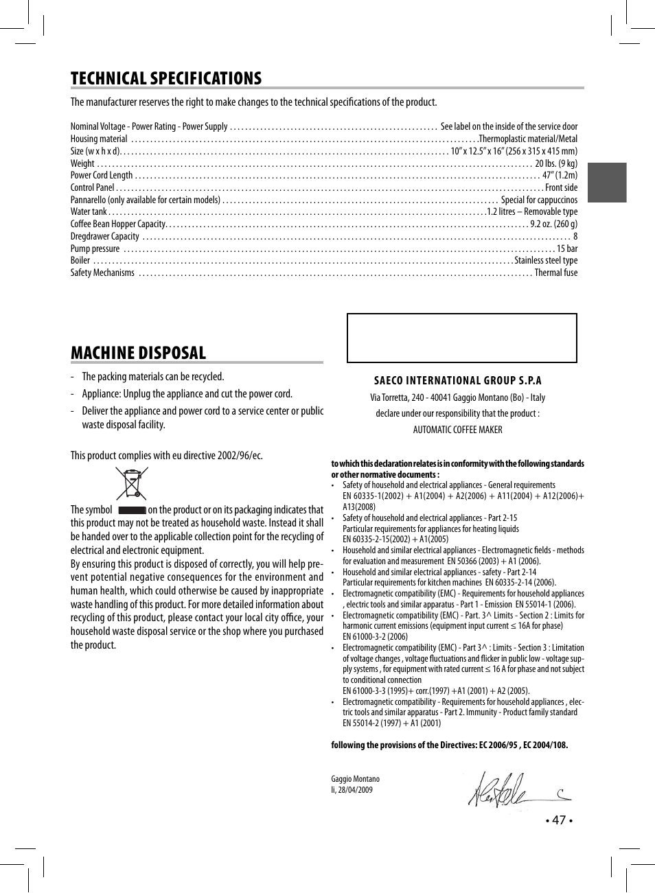 Technical specifications, Machine disposal, Sup 037dr | Philips Saeco Syntia  Kaffeevollautomat User Manual |