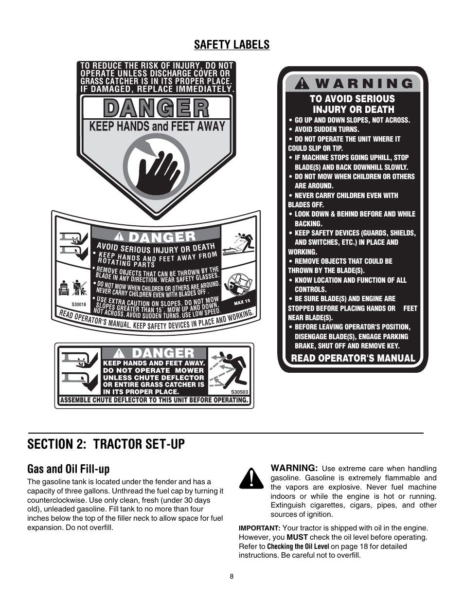 Section 2: tractor set-up, Gas and oil fill-up, Danger | Cub Cadet LT1024  User Manual | Page 8 / 28