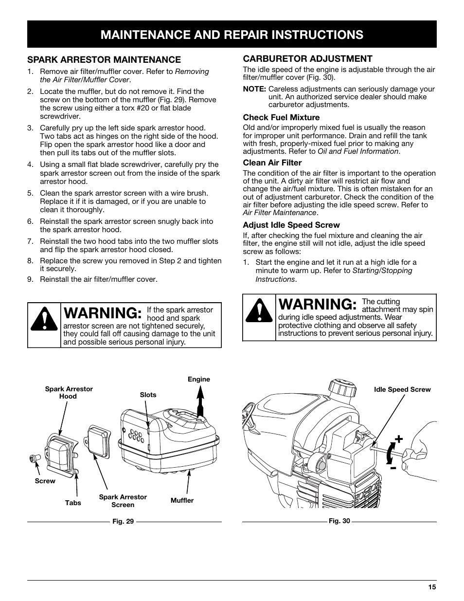 Warning  Maintenance And Repair Instructions