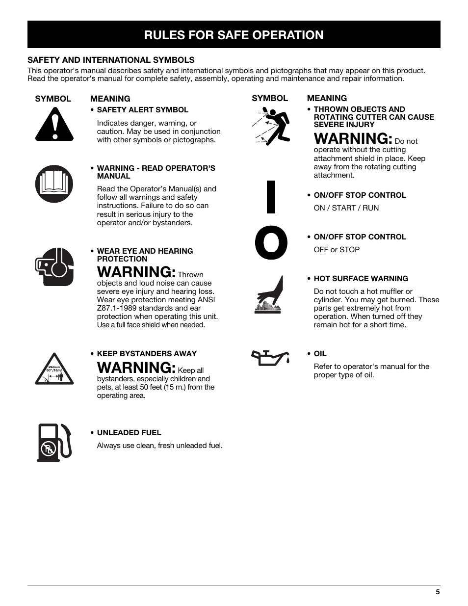 Warning, Rules for safe operation | Troy-Bilt TB20CS User Manual | Page 5 /  64