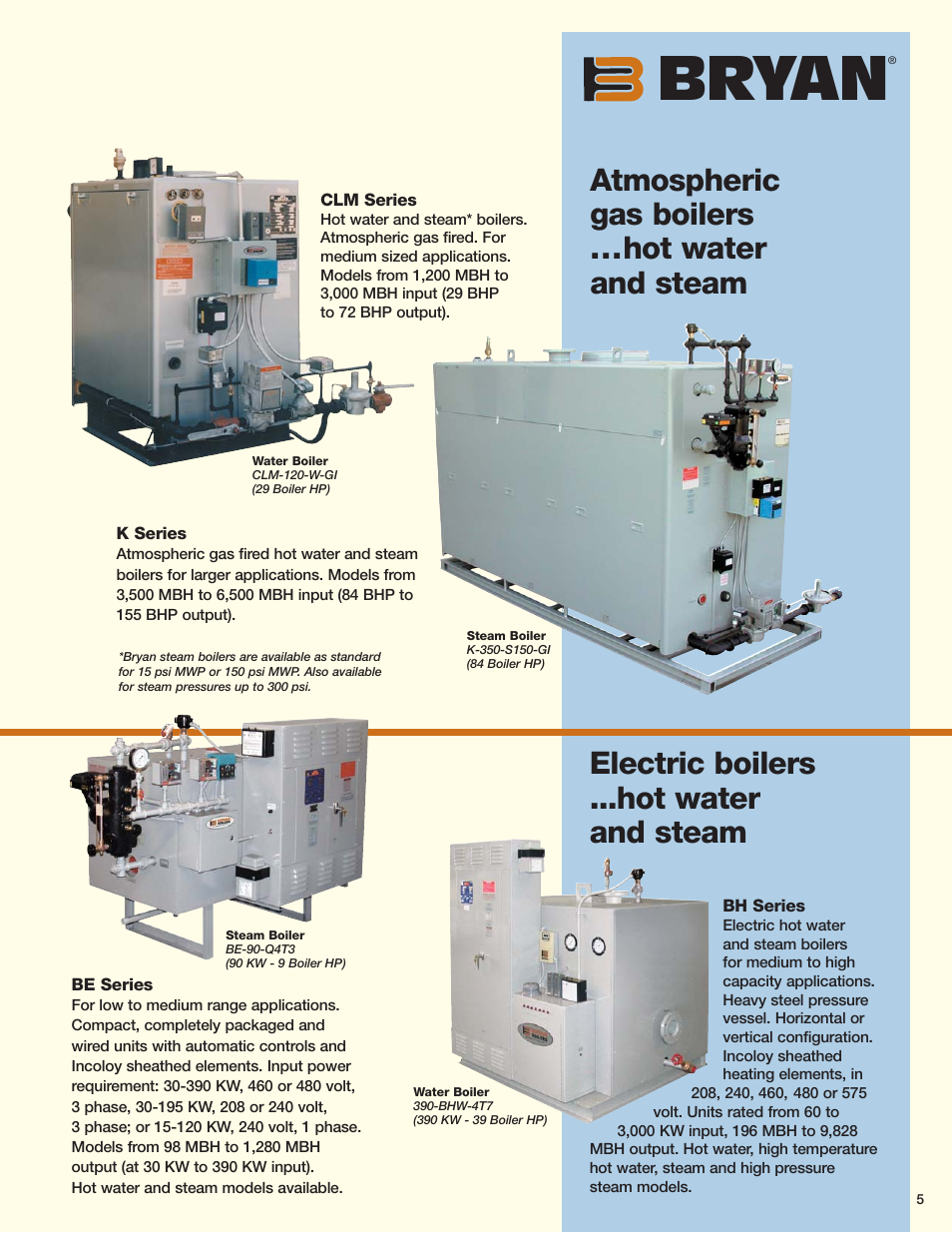 Bryan, Atmospheric gas boilers ...hot water and steam, Electric ...