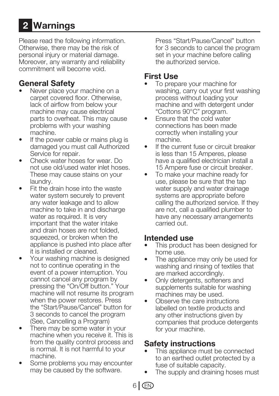 2warnings general safety first use beko wm 5140 w user manual rh manualsdir com