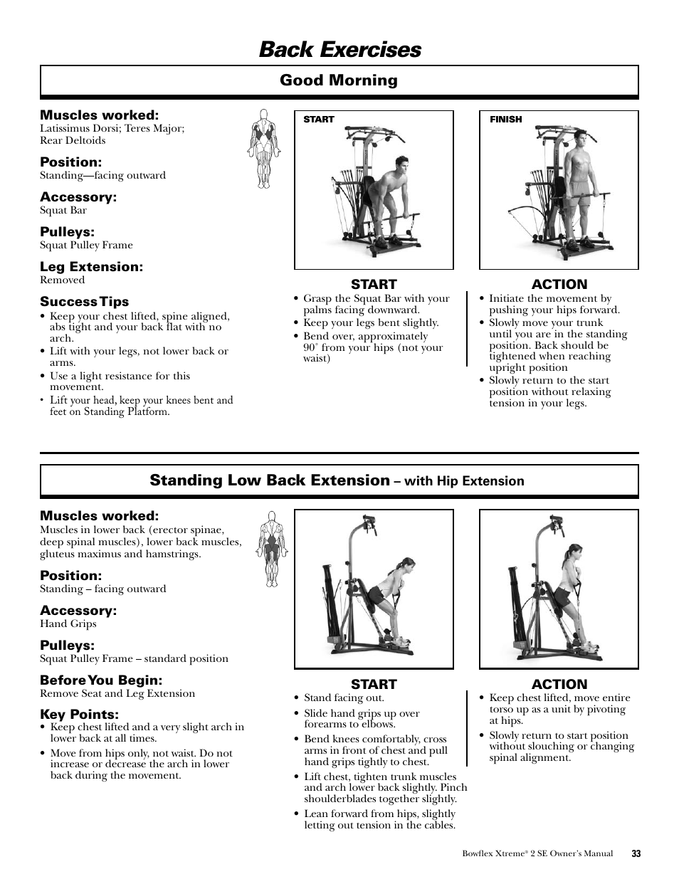 Back Exercises Standing Low Back Extension Good Morning Bowflex