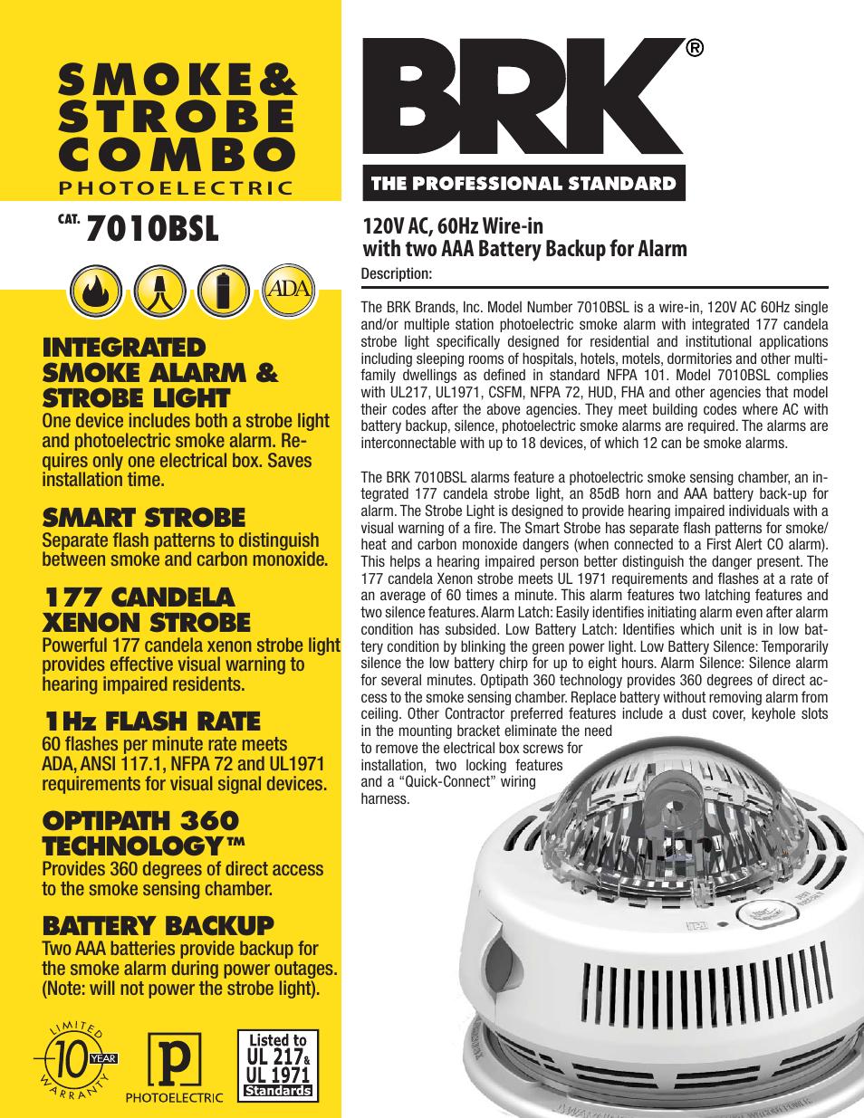 Brk Electronic Integrated Smoke Alarm Strobe Light 7010bsl User