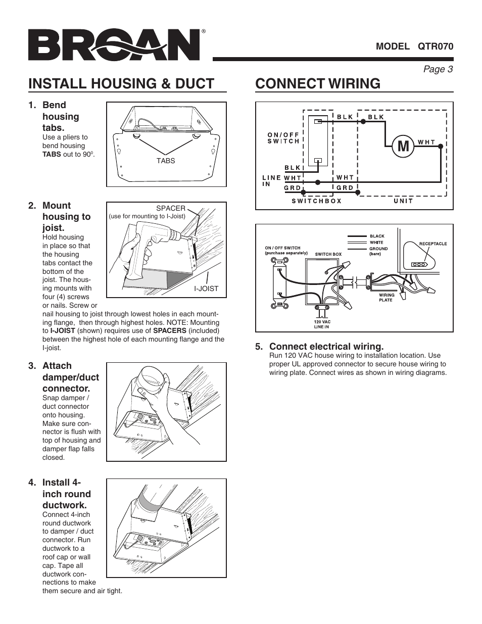 Connect Wiring Install Housing Duct Broan Qtr070 User Manual House Installation Page 3