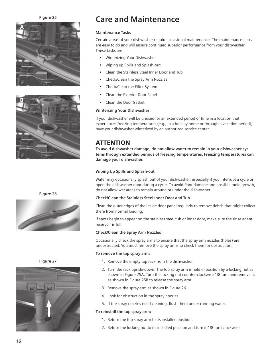 Care and maintenance, Attention | Bosch SHE44C User Manual | Page 16 / 22