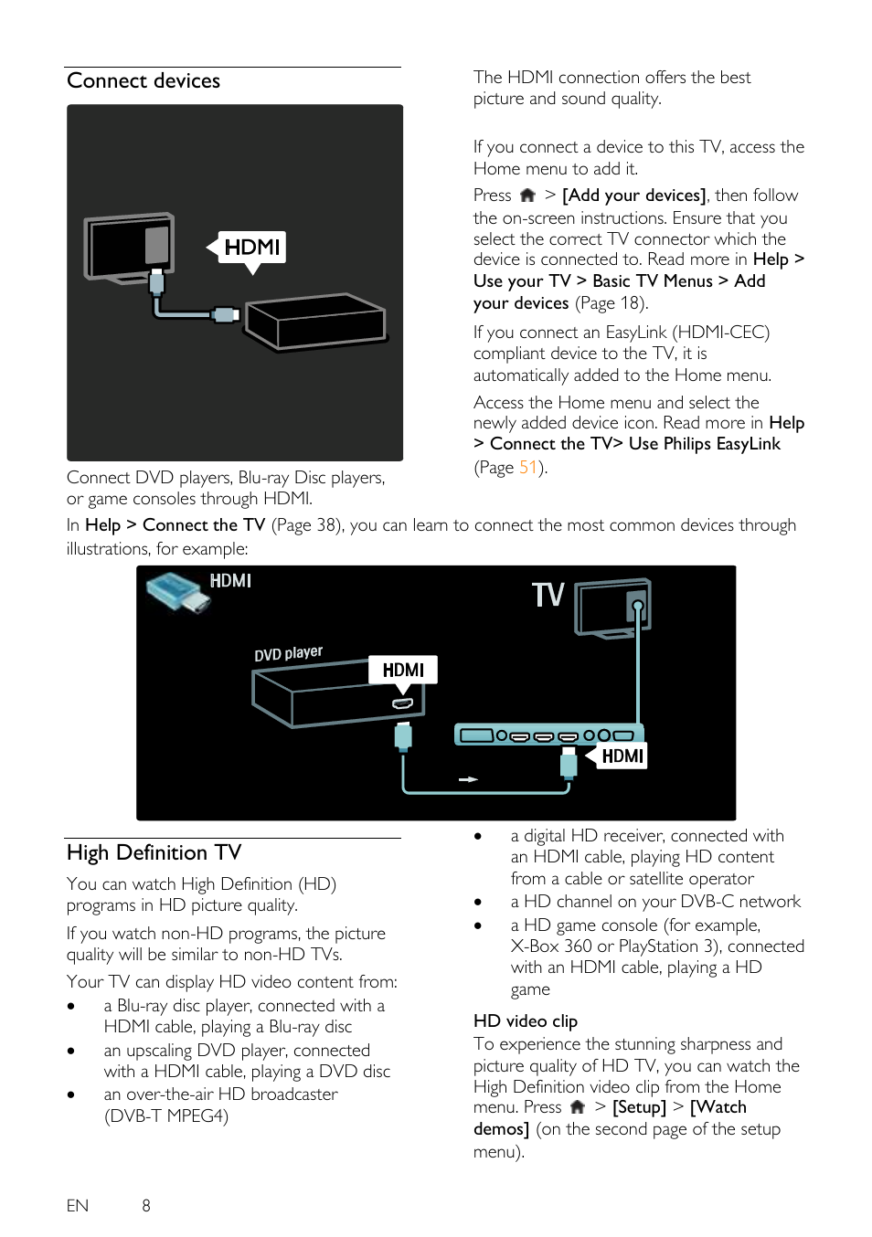 Connect Devices High Definition Tv Philips 46pfl5605h 12 User Hookup Video Diagrams Dvd Player Cable Box To Manual Page 8 65