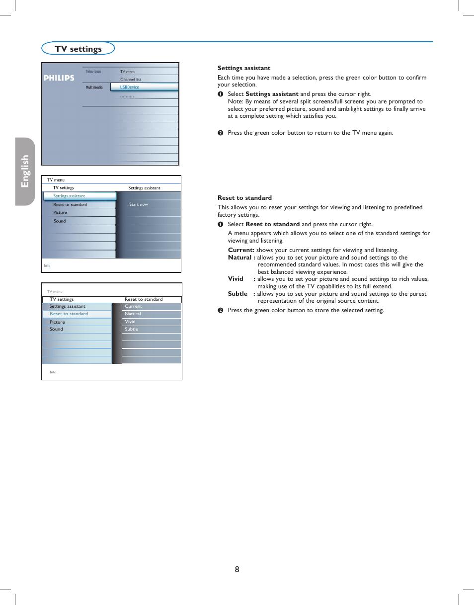 english fran aise espa ol 8tv settings philips digital widescreen rh manualsdir com Samsung TV Owner Manuals JVC Rear Projection TV Manual 6 183