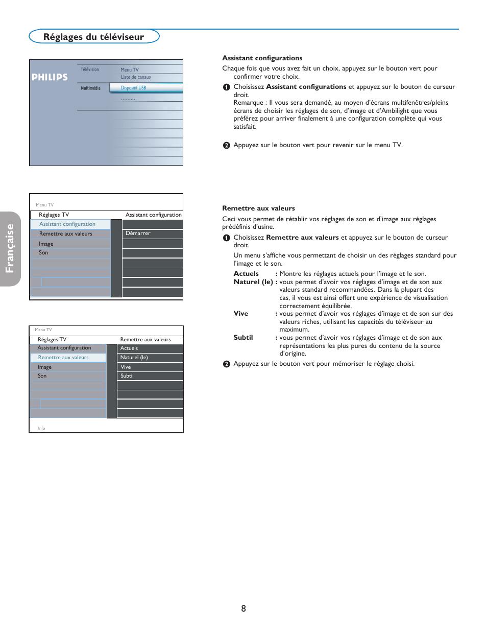 english fran aise espa ol 8r glages du t l viseur philips digital rh manualsdir com TV Manual Packet Sony Trinitron Color TV Manual