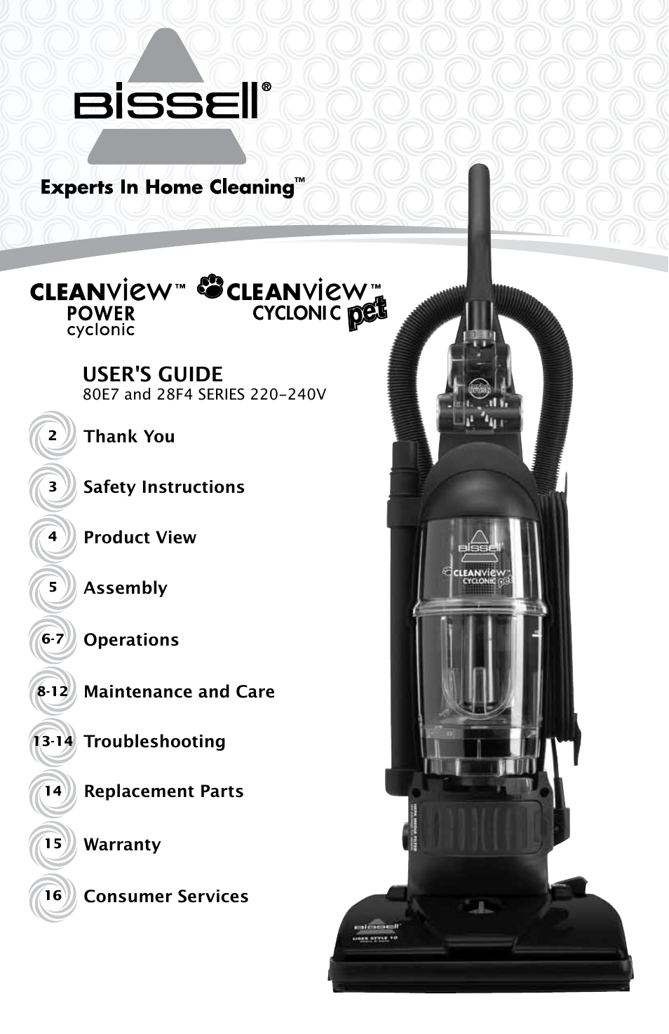 bissell cleanview 80e7 user manual
