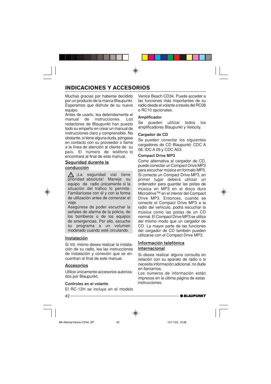 Indicaciones y accesorios | Blaupunkt Atlanta CD34 User Manual | Page 42 /  84
