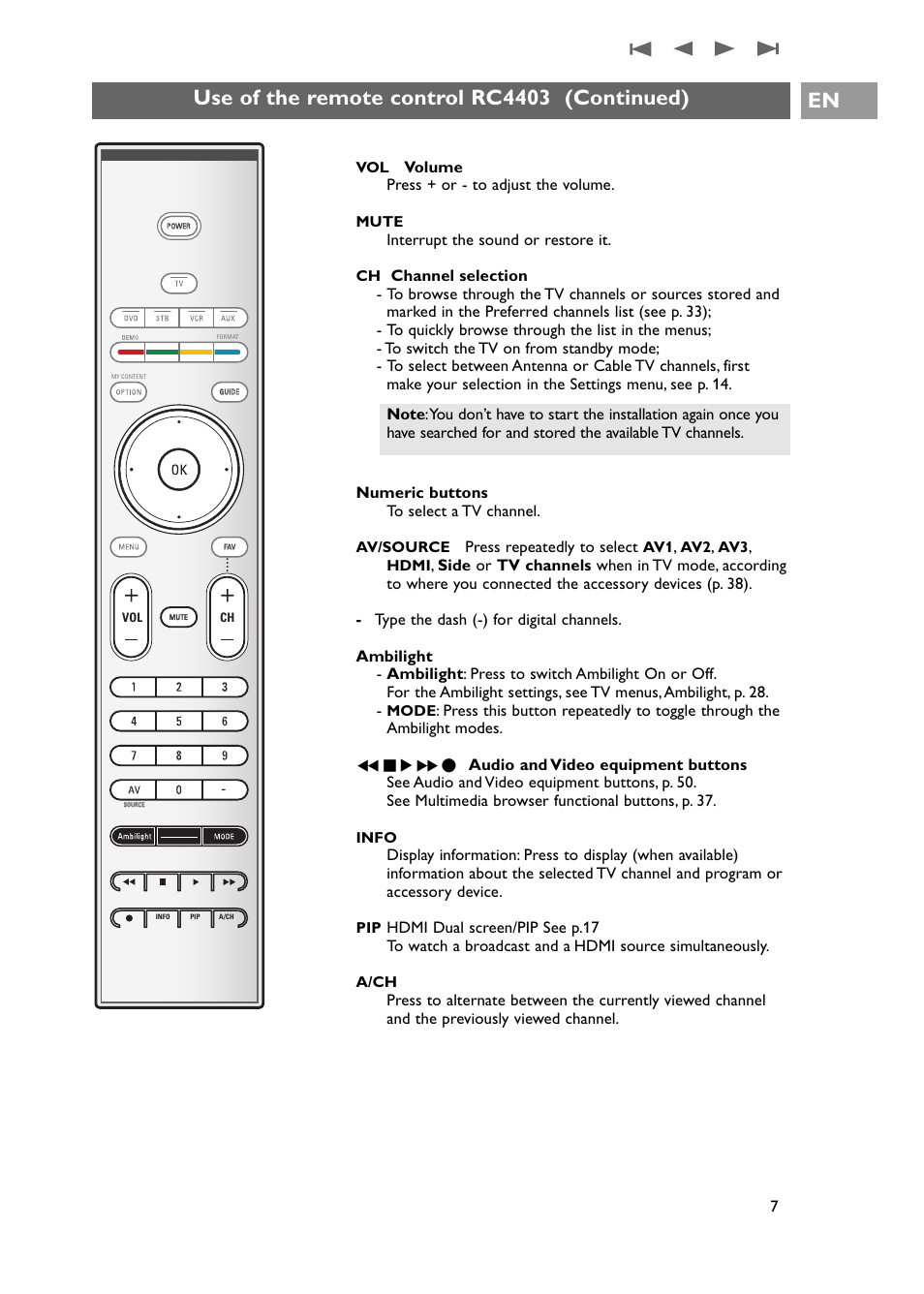 use of the remote control rc4403 continued philips 42pf9631d 37e rh manualsdir com Philips Product Manuals Philips Instruction Manuals