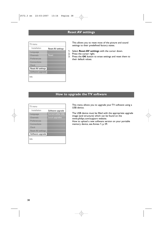 How to upgrade the tv software, Reset av settings | Philips