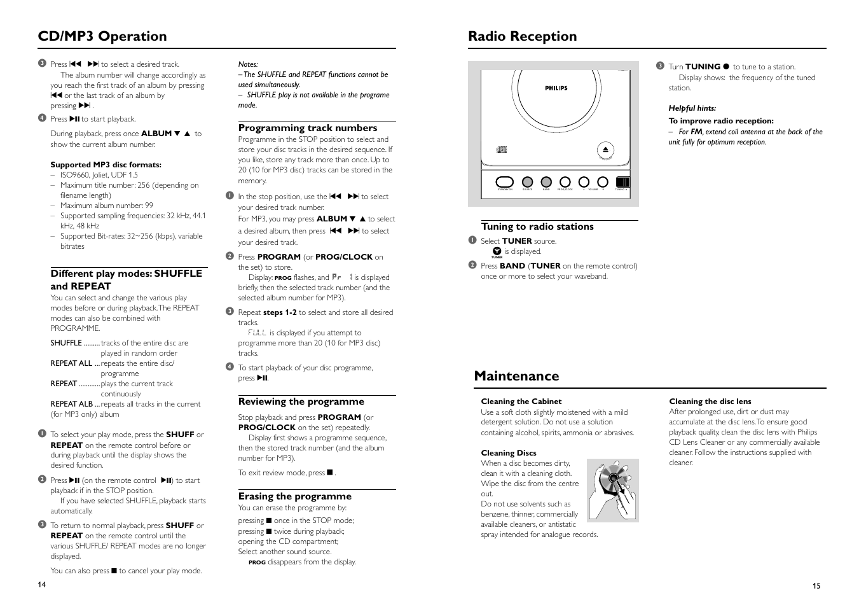 cd mp3 operation radio reception maintenance philips mcm118d 37b rh manualsdir com Philips User Guides Philips TV User Manual