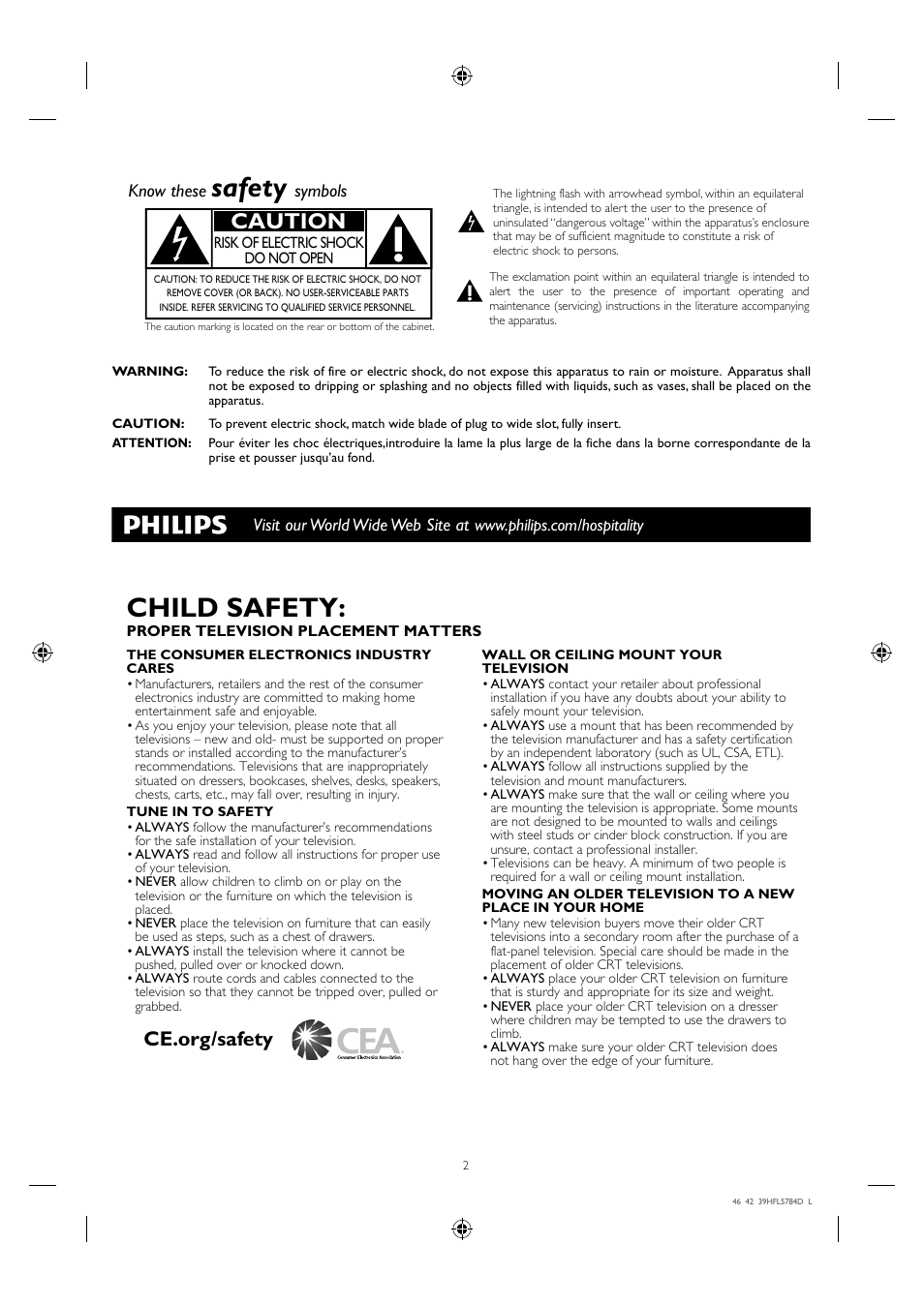 Safety, Child safety, Caution | Philips Hospitality LED-LCD TV