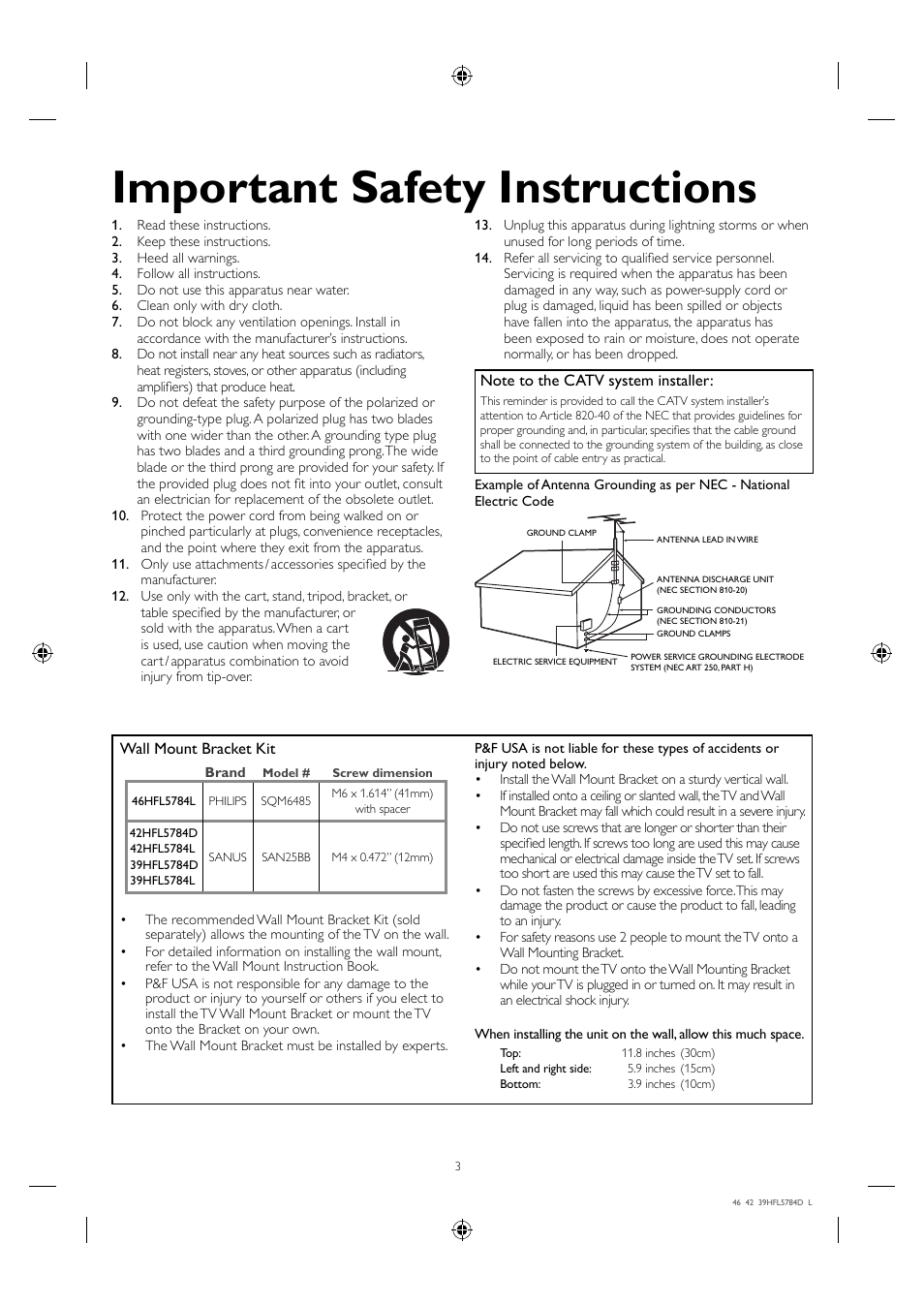 Important safety instructions   Philips Hospitality LED-LCD TV