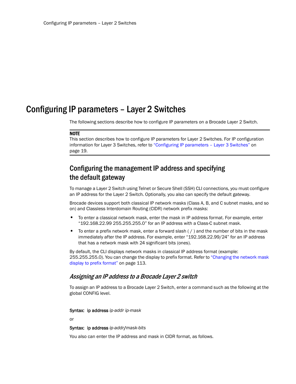 Configuring ip parameters – layer 2 switches, Configuring the