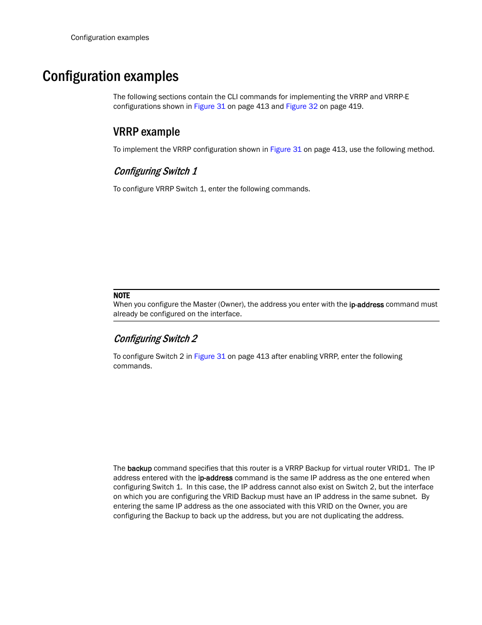 Configuration examples, Vrrp example, Configuring switch 1 | Brocade