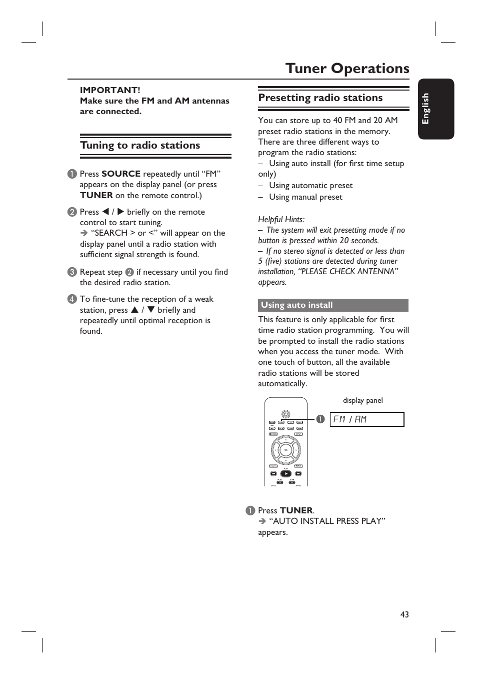 tuner operations philips hts6500 37 user manual page 43 55 rh manualsdir com Philips User Guides Philips Flat TV Manual
