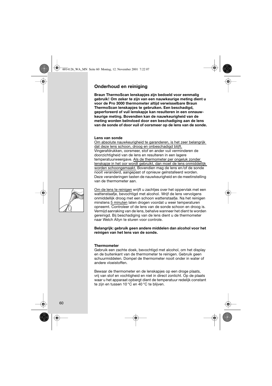 Braun Thermoscan Pro3000 User Manual Page 60 63 Original Mode