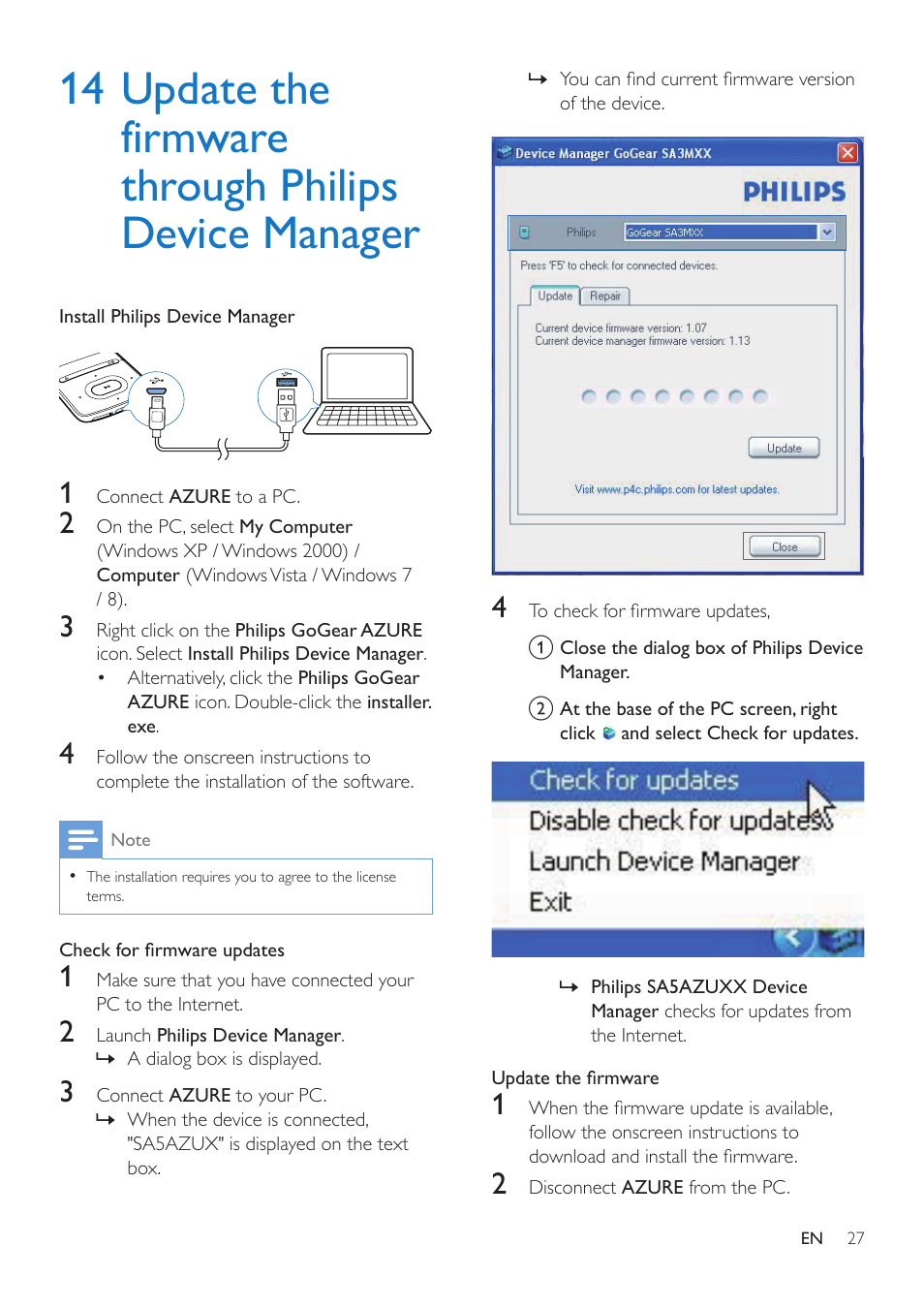 14 update the firmware through, Philips device manager