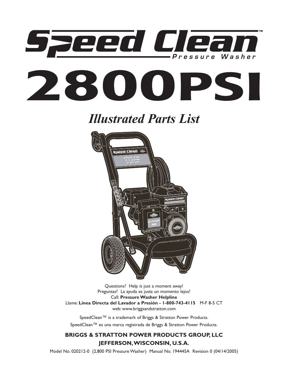 Briggs Stratton Speed Clean 020212 0 User Manual 3 Pages Also And Engine Diagram Parts List For 2800 Psi