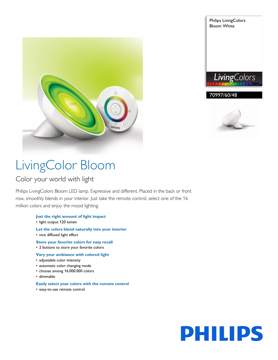 Philips Livingcolors Bloom White 70997 60 48 User Manual 3 Pages