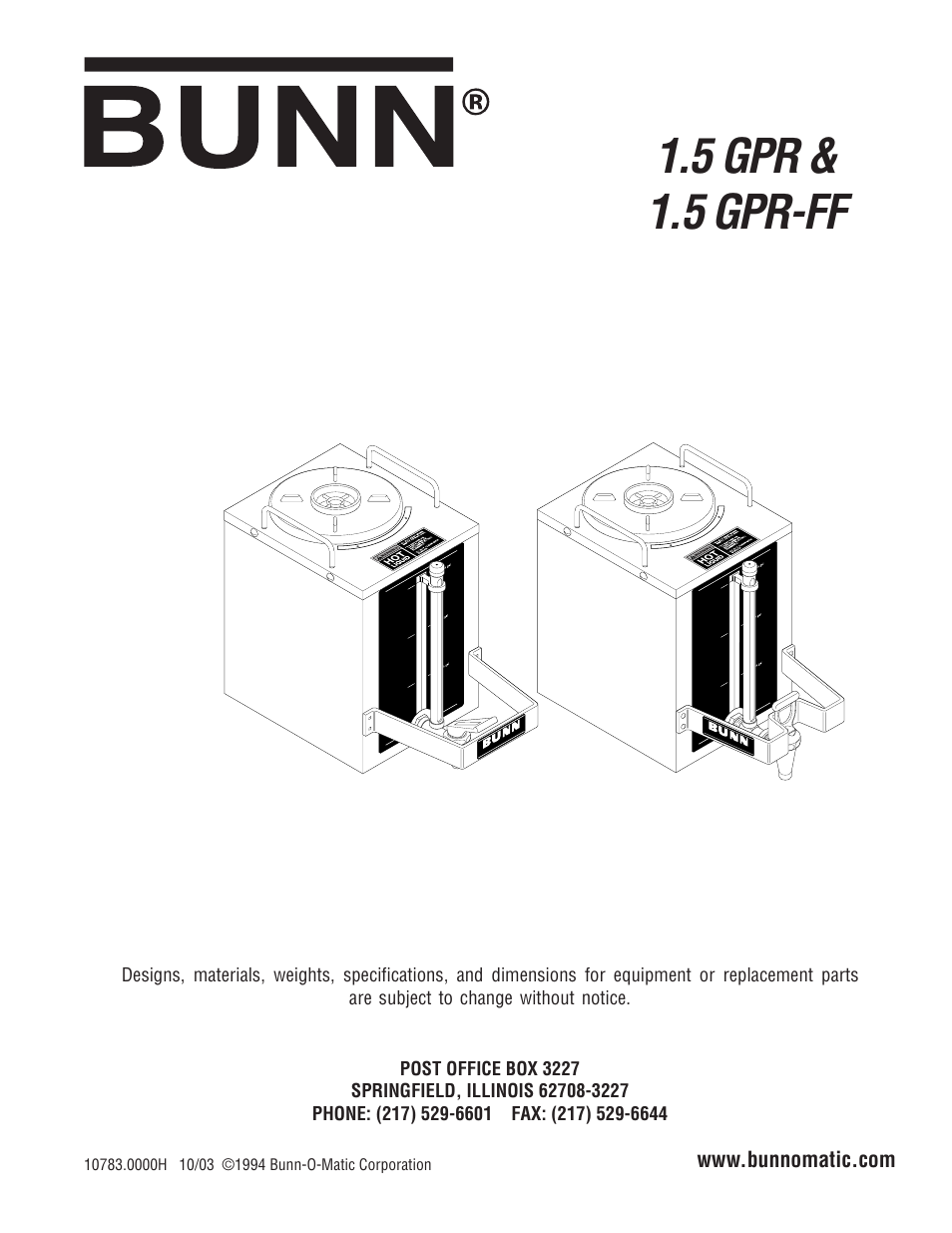 Bunn Parts Catalog Wiring Diagram User Manual Pages Also For Gpr 954x1235