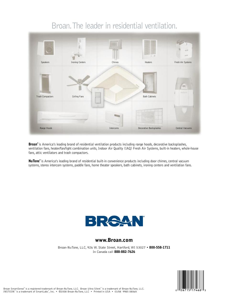 Broan. the leader in residential ventilation, Broan | Broan SmartSense User  Manual | Page 6 / 6