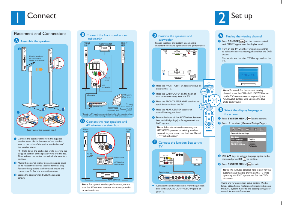 Connect, Set up, Placement and connections | Philips HTS9800W-37B ...