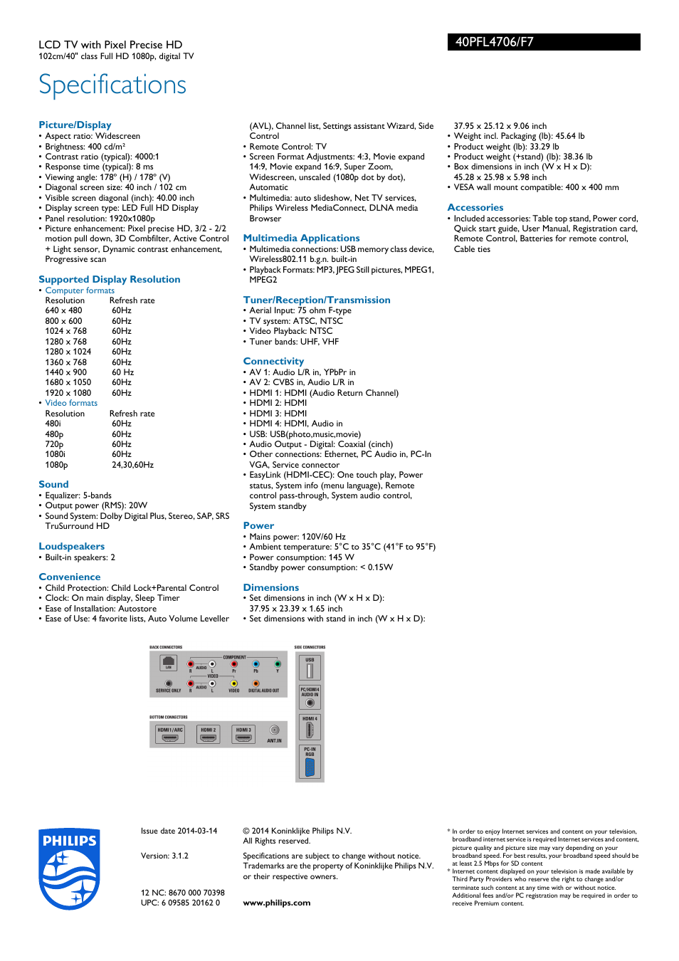 specifications philips 40pfl4706 f7 user manual page 3 3 rh manualsdir com Philips Magnavox 19 Inch TV Philips TV Problems
