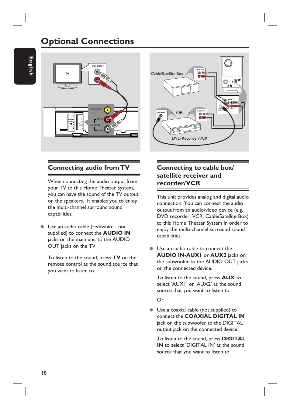 Optional Connections Connecting Audio From Tv 18 English Philips Home Theater Wiring With Cable Box Hts8100 37b User Manual Page 57