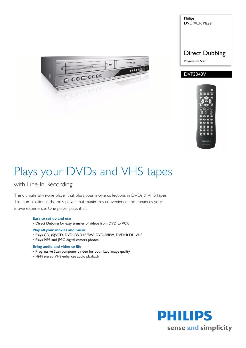 philips dvd vcr player dvp3340v direct dubbing progressive scan user rh manualsdir com Funai DVD Player Sony DVD Player