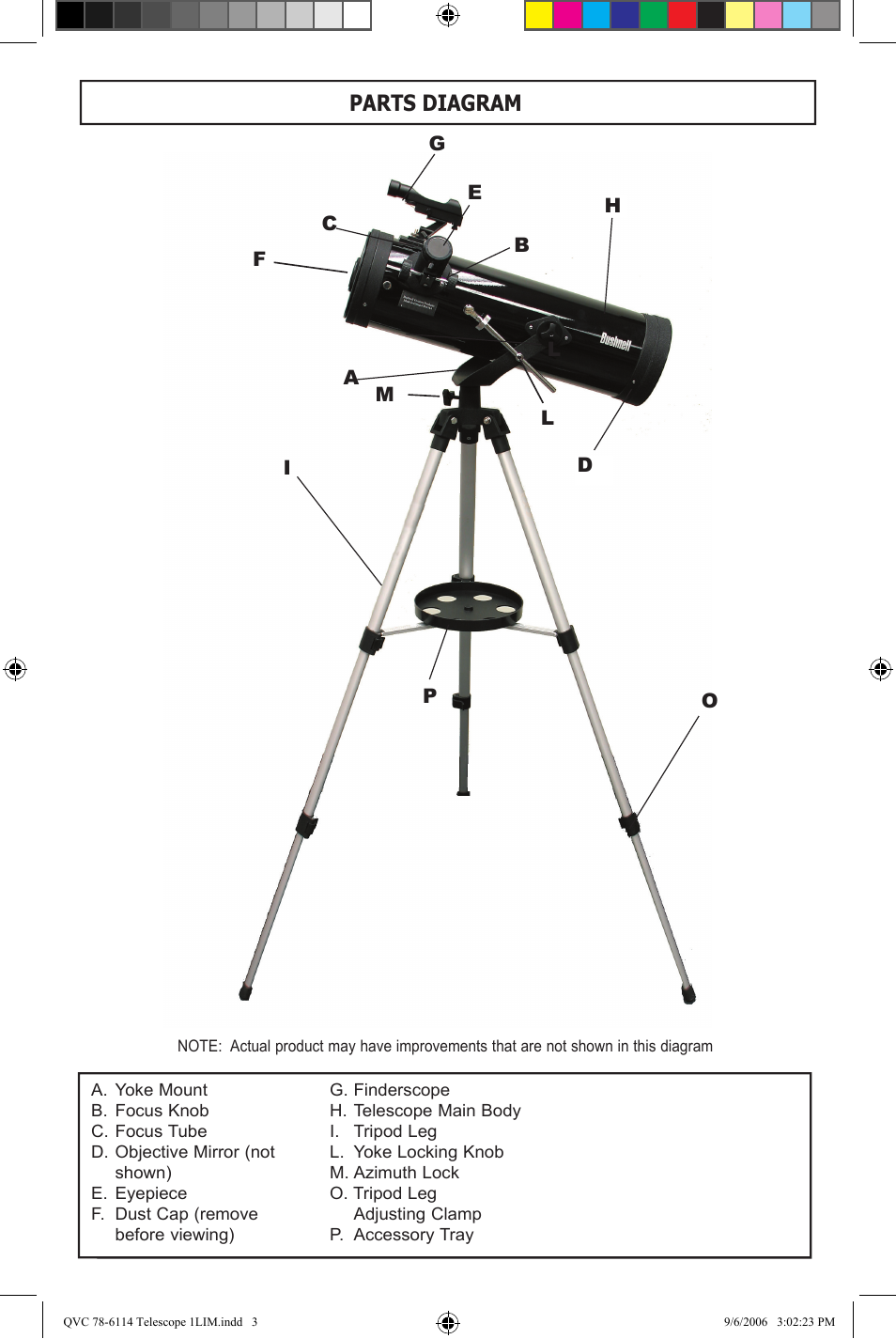 Parts diagram | Bushnell 78-6114 User Manual | Page 3 / 9