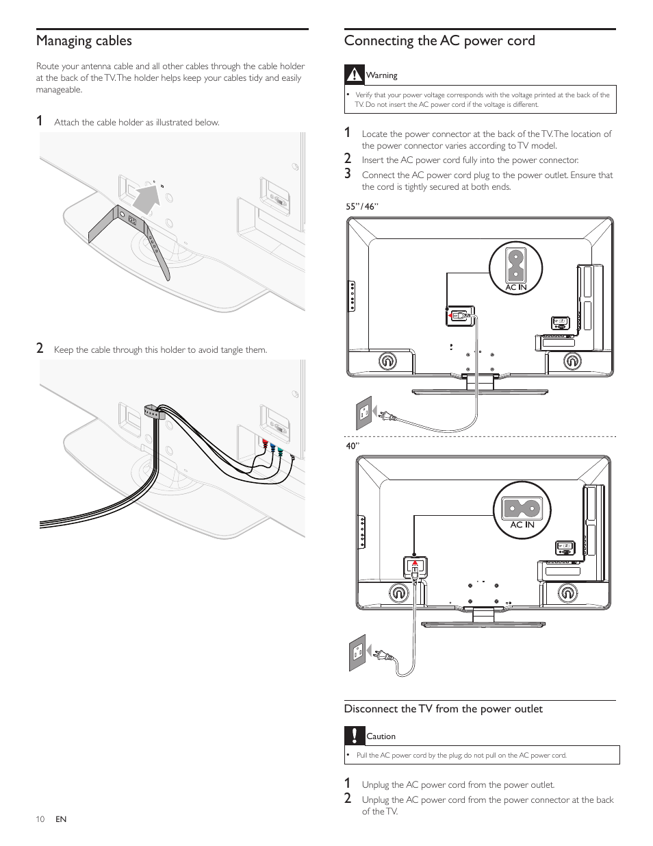 Connecting the ac power cord, Managing cables | Philips LCD TV 46PFL7505D  117cm-46&quot