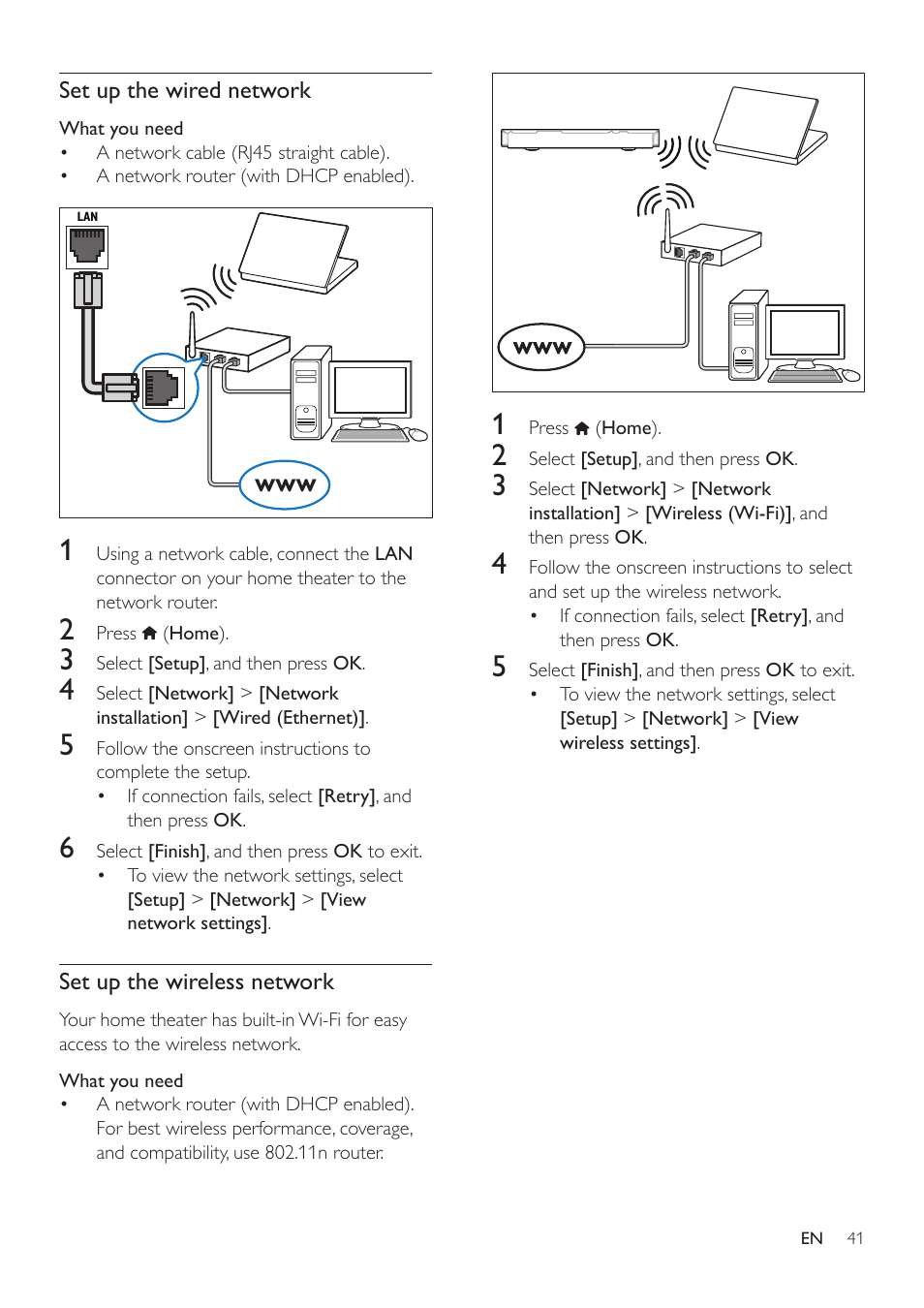 Philips Hts3541 F7 User Manual Page 43 70 Wireless Network Diagram Home Entertainment